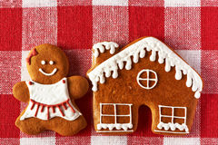 Christmas homemade gingerbread girl cookie Royalty Free Stock Photography