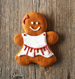 Christmas homemade gingerbread girl cookie Stock Image