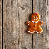 Christmas homemade gingerbread girl cookie Royalty Free Stock Photo