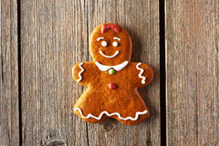 Christmas homemade gingerbread girl cookie Royalty Free Stock Images