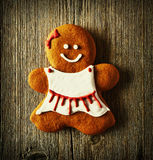 Christmas homemade gingerbread girl cookie Stock Photos