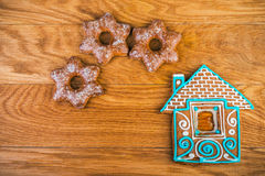 Christmas homemade gingerbread house Royalty Free Stock Images