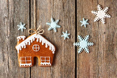 Christmas homemade gingerbread house cookie Stock Photos
