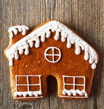 Christmas homemade gingerbread house cookie Royalty Free Stock Photography