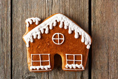Christmas homemade gingerbread house cookie Stock Photo