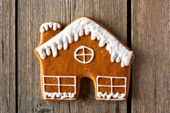Christmas homemade gingerbread house cookie Royalty Free Stock Photos
