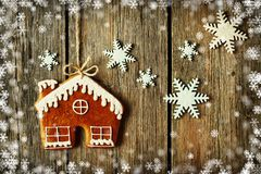 Christmas homemade gingerbread house cookie stock photography