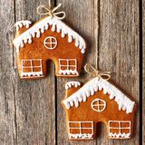 Christmas homemade gingerbread house cookies Stock Photos
