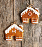 Christmas homemade gingerbread house cookies Royalty Free Stock Images
