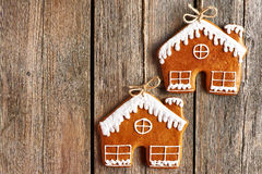 Christmas homemade gingerbread house cookies Royalty Free Stock Photos