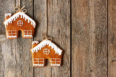 Christmas homemade gingerbread house cookies Stock Photography