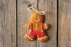 Christmas homemade gingerbread man cookie Royalty Free Stock Image