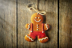Christmas homemade gingerbread man cookie Royalty Free Stock Photography