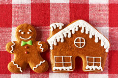 Christmas homemade gingerbread man cookie Stock Photos