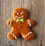 Christmas homemade gingerbread man cookie Stock Photos