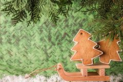 Christmas homemade gingerbread on a wooden sled. Christmas and New Year concept Royalty Free Stock Image