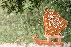 Christmas homemade gingerbread on a wooden sled. Christmas and New Year concept Stock Image