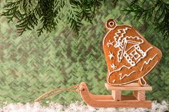 Christmas homemade gingerbread on a wooden sled. Christmas and New Year concept Stock Photography