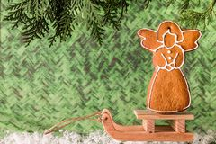 Christmas homemade gingerbread on a wooden sled. Christmas and New Year concept Royalty Free Stock Images