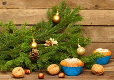 Christmas Homemade Muffins Royalty Free Stock Images