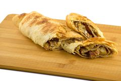 Christmas homemade pastry. Apple strudel pie with cinnamon. stock image