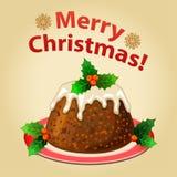 Christmas homemade pudding with Christmas decorations. Traditional christmas dessert. Vector illustration Stock Photos