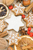 Christmas homemade star shaped gingerbread cookies, nuts, spices Stock Photography