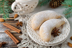 Christmas homemade sugar cookies Crescent Royalty Free Stock Photography
