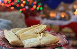 Christmas homemade tamales. Tamales for Christmas a typical dish for the holiday season in Mexico Royalty Free Stock Photos