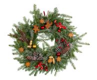 Christmas homemade wreath from fir tree branches isolated. Christmas homemade wreath from stock image