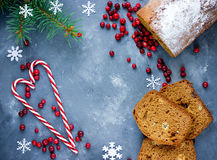 Christmas honey cake on table with festive decorations Royalty Free Stock Image