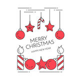 Christmas horizontal banner with candles, decorations Flat line art style Stock Images