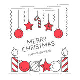 Christmas horizontal banner with candles, decorations Flat line art style Stock Photos
