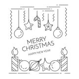 Christmas horizontal banner with candles, decorations Flat line art style Royalty Free Stock Photos