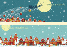 Christmas horizontal banner set.Santa Claus coming Stock Photography