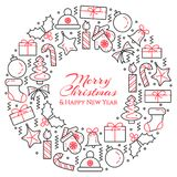 Christmas horizontal banner with tree, gifts, decorations in form of circle. Flat line art. Vector illustration. Royalty Free Stock Photos