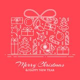 Christmas horizontal banner with tree, gifts, decorations in form of gift. Flat line art. Vector illustration. Royalty Free Stock Image