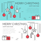 Christmas horizontal banner with tree and gifts Linear style. Christmas horizontal banner with gifts and decorations. Flat linear style vector illustration vector illustration