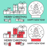 Christmas horizontal banner with tree and gifts Linear style. Christmas horizontal banner with tree and gifts. Flat linear style vector illustration. Black and royalty free illustration