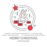 Christmas horizontal banner with tree and gifts Linear style. Christmas horizontal banner with tree and gifts. Flat linear style vector illustration. Black and vector illustration