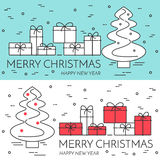 Christmas horizontal banner with tree and gifts Linear style. Christmas horizontal banner with tree and gifts. Flat linear style vector illustration. Concept for royalty free illustration