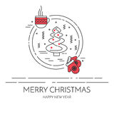 Christmas horizontal banner with tree and gifts Linear style. Christmas horizontal banner with tree, mittens and cup. Flat linear style vector illustration royalty free illustration