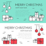 Christmas horizontal banner with tree and gifts Linear style. Christmas and New Year horizontal banner with gifts and decorations. Flat linear style vector stock illustration
