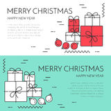 Christmas horizontal banner with tree and gifts Linear style. Christmas and New Year horizontal banner with gifts and decorations. Flat linear style vector Stock Photo