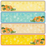 Christmas horizontal banners with mandarins and sp. Ruce branches, light yellow, turquoise, beige, dark yellow color Royalty Free Stock Image