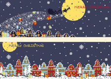 Christmas horizontal banners.Santa Claus coming to Royalty Free Stock Images