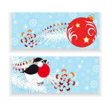 Christmas horizontal blue banners Royalty Free Stock Photography