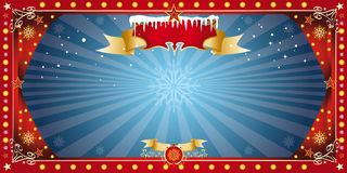 Christmas horizontal blue card Royalty Free Stock Image