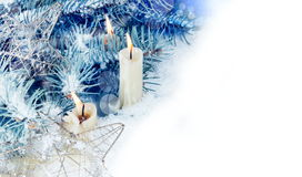 Christmas Horizontal Border with Candles Royalty Free Stock Photography