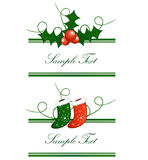 Christmas horizontal borders. Vector borders horizontal from Christmas socks and european holly Royalty Free Stock Images